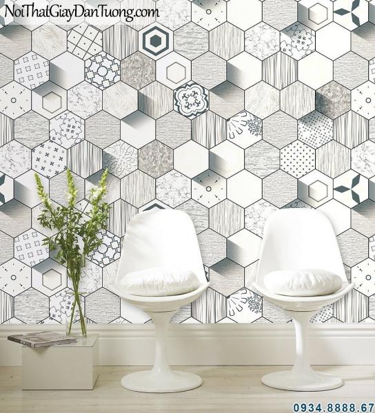 ALISHA, phối cảnh giấy dán tường hình lục giác 3d đẹp, điểm nhấn đẹp, giấy màu xám 3d lục giác 3940-1
