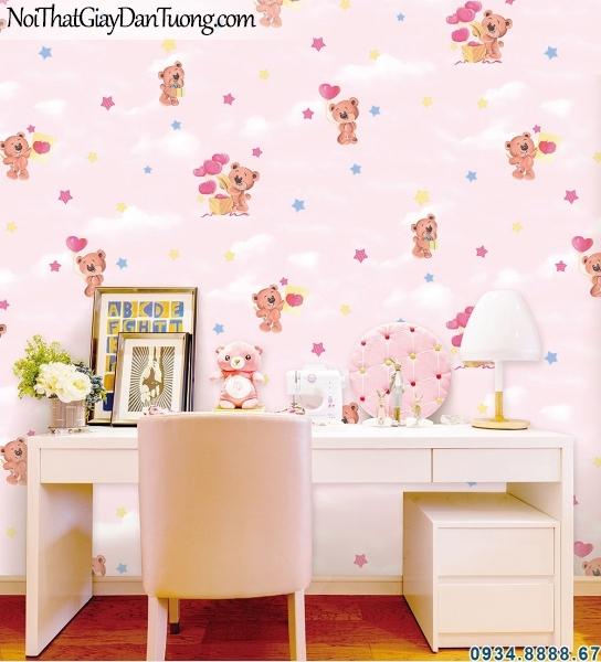 ALISHA, Giấy dán tường cho phòng bé, phòng ngủ trẻ em đẹp 3941-2, mây trời màu hồng