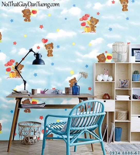 ALISHA, Giấy dán tường cho phòng bé trai, giấy dán tường cho phòng bé gái, giấy mây bầu trời 3941-1