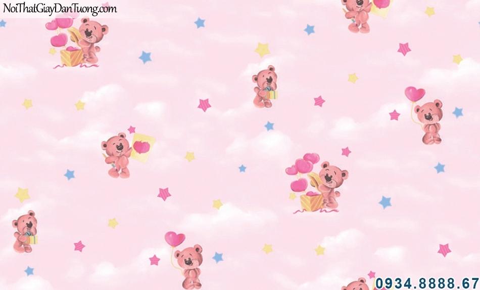 ALISHA, Giấy dán tường màu hồng cho phòng bé, bầu trời màu hồng, những chú gấu bông trái tim dễ thương 3941-2