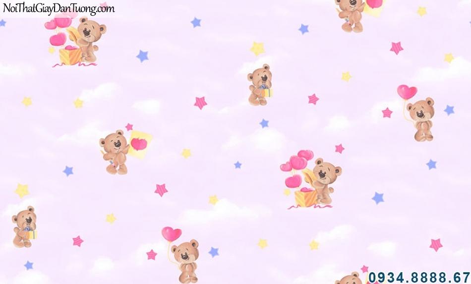 ALISHA, Giấy dán tường mây trời màu tím, gấu bông dễ thương, trang trí giấy dán tường phòng bé đẹp 3941-3