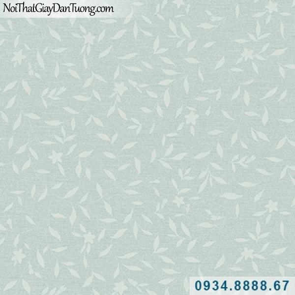 Giấy dán tường Hàn Quốc ARTBOOK, giấy dán tường lá cây xanh dương, xanh biển, lá xanh da trời nhạt 57181-3