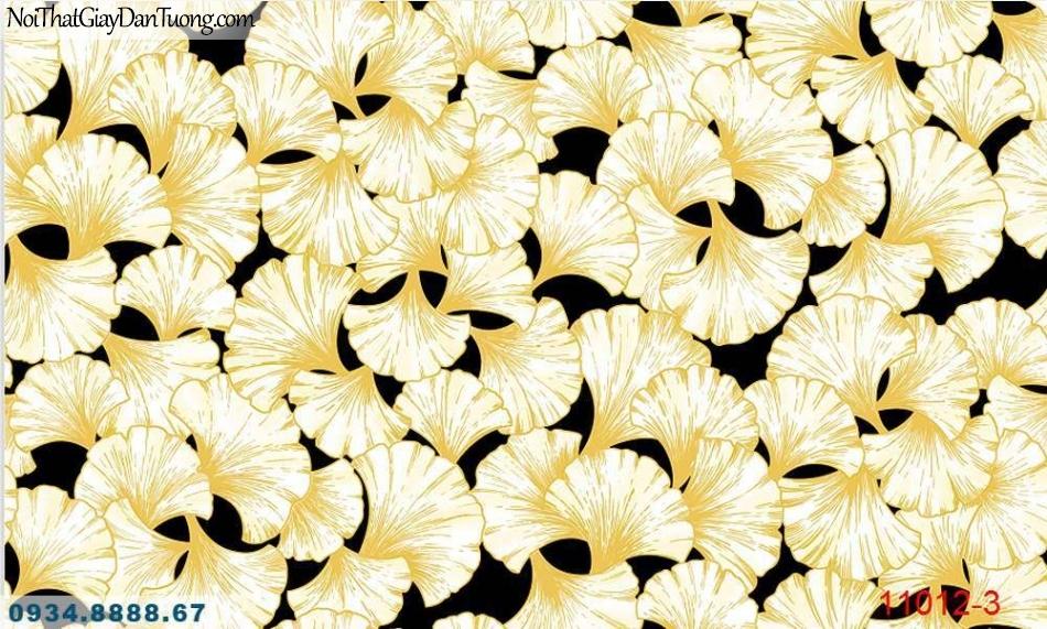 Giấy dán tường AQUAMAN, giấy dán tường hình lá cây bạch quả màu vàng, nền màu đen 11012-3, giấy dán tường giá rẻ tại tphcm