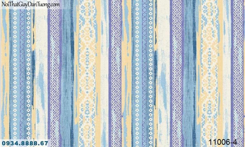 Giấy dán tường AQUAMAN, giấy dán tường hoa văn họa tiết cổ truyền dân tộc, sọc xuôi nhiều màu sắc 11006-4