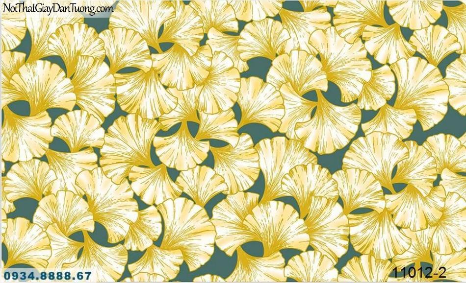 Giấy dán tường AQUAMAN, giấy dán tường lá cây bạch quả màu vàng trên nền xanh ngọc 11012-2, bán và thi công giấy dán tường ở vinhomes