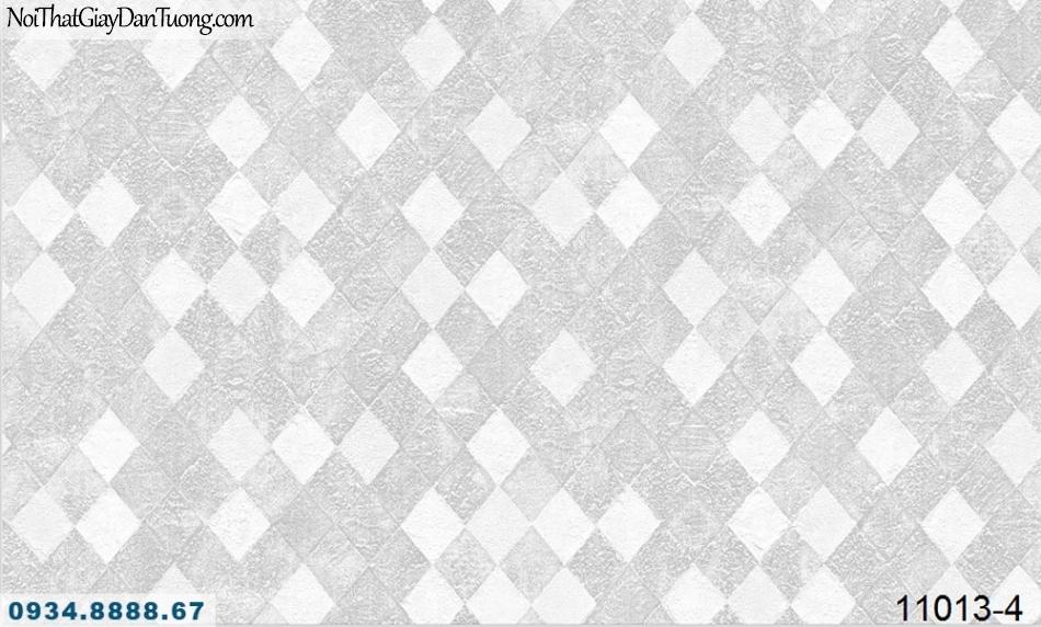Giấy dán tường AQUAMAN, giấy dán tường nền xám điểm ca rô trắng 11013-4, giấy dán tường họa tiết caro