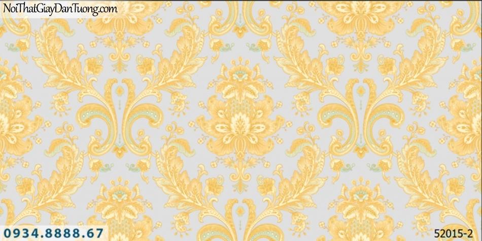 Giấy dán tường NEPTUNE, giấy dán tường hoa văn cổ điển màu vàng 52015-2