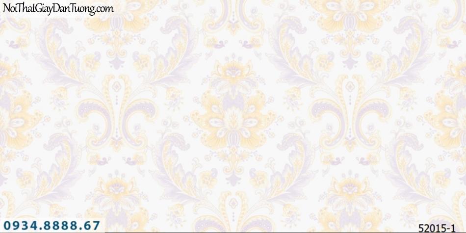 Giấy dán tường NEPTUNE, giấy dán tường hoa văn cổ điển, nền kem, bông vàng điểm màu tím 52015-1