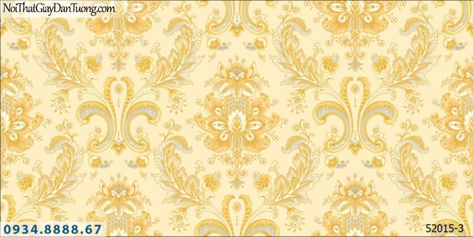 Giấy dán tường NEPTUNE, giấy dán tường hoa văn họa tiết cổ điển màu vàng tươi, vàng chuối 52015-3