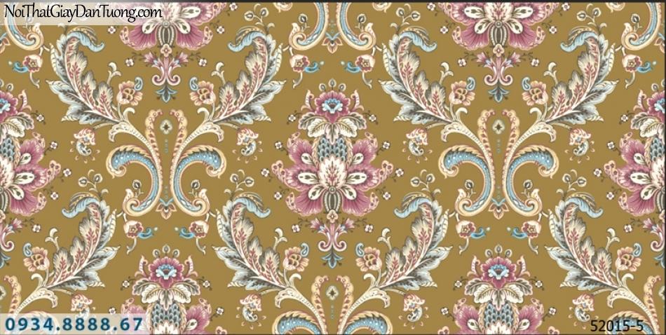 Giấy dán tường NEPTUNE, giấy dán tường hoa văn họa tiết nền màu vàng hoa văn cổ điển nhiều màu 52015-5