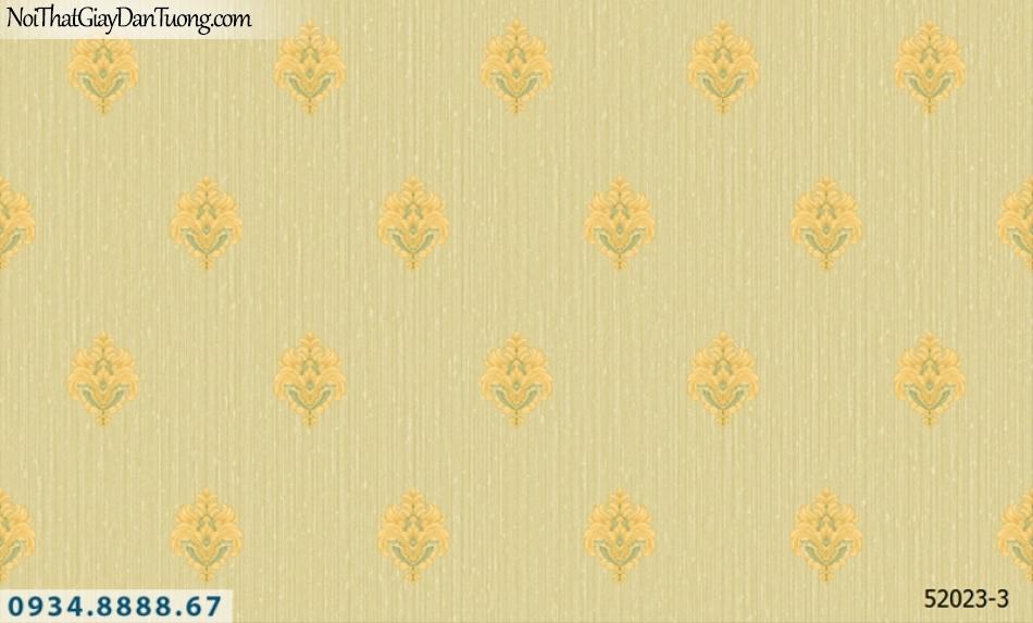 Giấy dán tường NEPTUNE, giấy dán tường màu vàng chuối, vàng chanh, hoa văn họa tiết cổ điển Châu Âu 52023-3