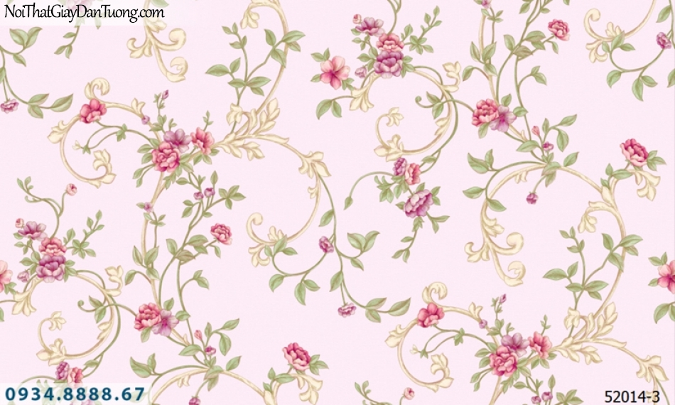 Giấy dán tường NEPTUNE, giấy dán tường nền màu hồng, hoa dây leo màu đỏ, hoa lá dây leo tường 52014-3