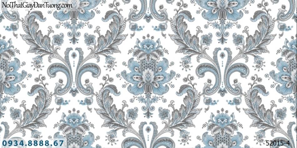 Giấy dán tường NEPTUNE, giấy dán tường nền trắng, hoa văn màu xám lồng điểm màu xanh lơ, xanh nhạt 52015-4