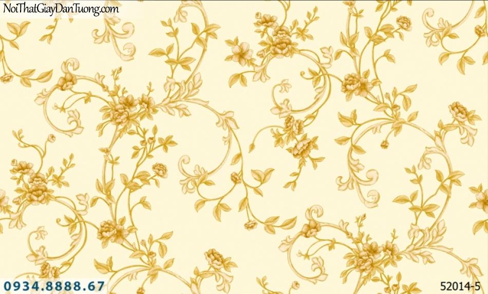 Giấy dán tường NEPTUNE, giấy dán tường nền vàng, hoa vàng, hoa lá dây leo 52014-5