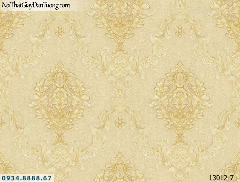 Giấy dán tường NEPTUNE, giấy họa tiết cổ điển Châu Âu sang trọng, màu vàng, vàng kem 13012-7