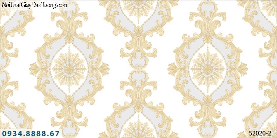 Giấy dán tường NEPTUNE, giấy hoa văn họa tiết cổ điển màu xám, xanh lơ 52020-2