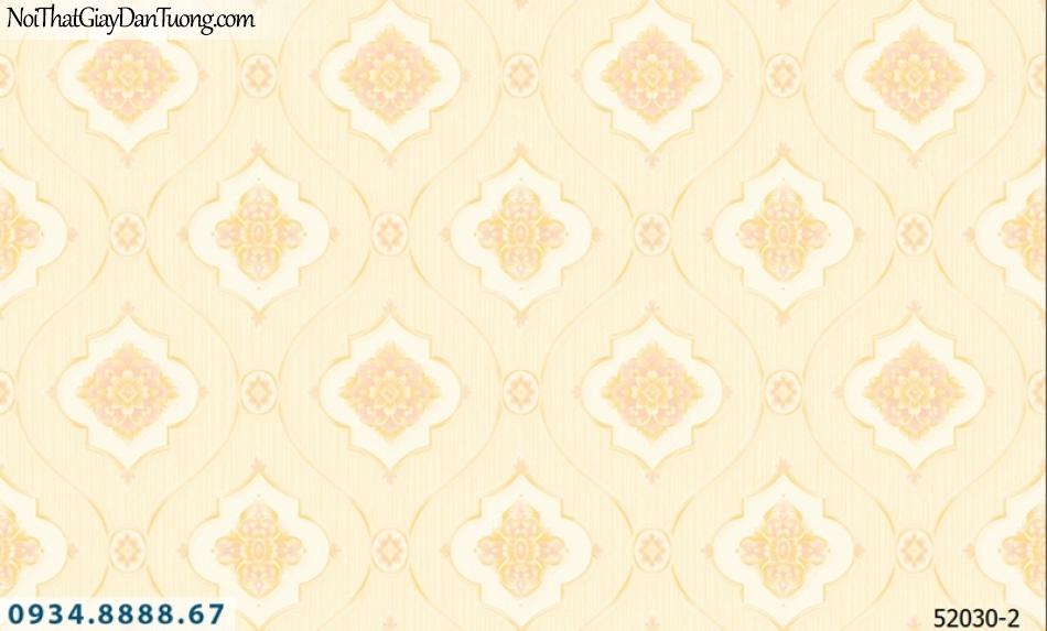 Giấy dán tường NEPTUNE, hoa văn cổ điển màu vàng đỏ nhạt, vàng cam nhẹ 52030-2