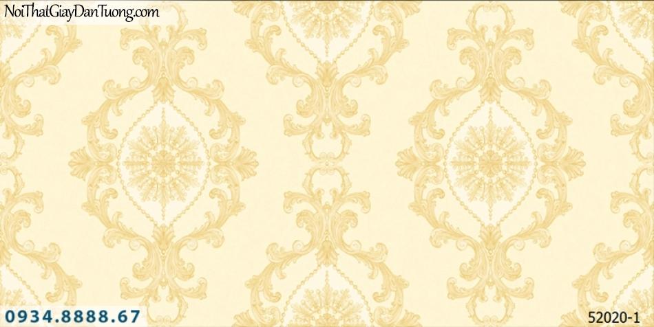 Giấy dán tường NEPTUNE, hoa văn họa tiết cổ điển màu vàng kem 52020-1
