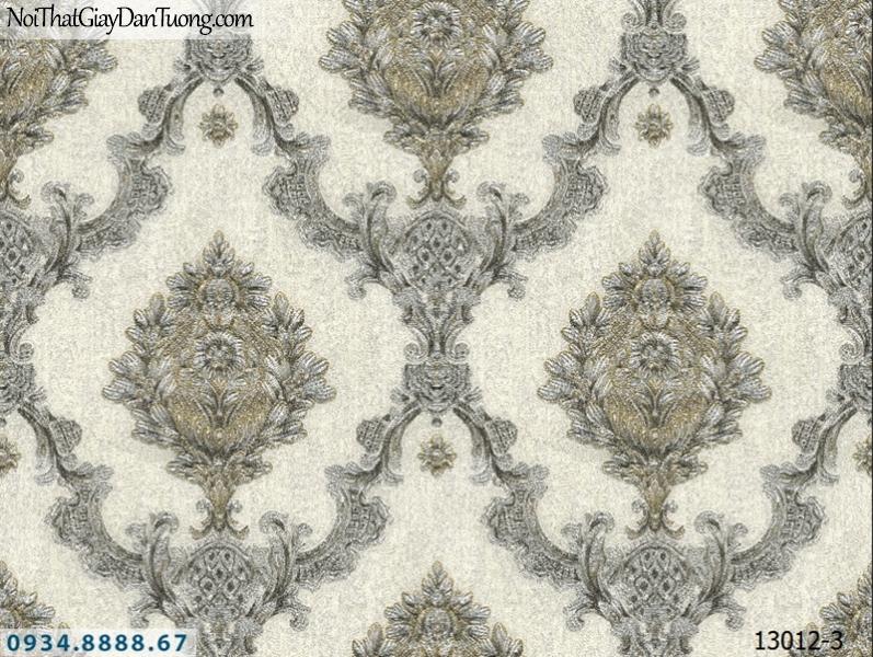 Giấy dán tường NEPTUNE, màu trắng kem, trắng bạc, hoa văn cổ điển sang trọng, cổ kính 13012-3