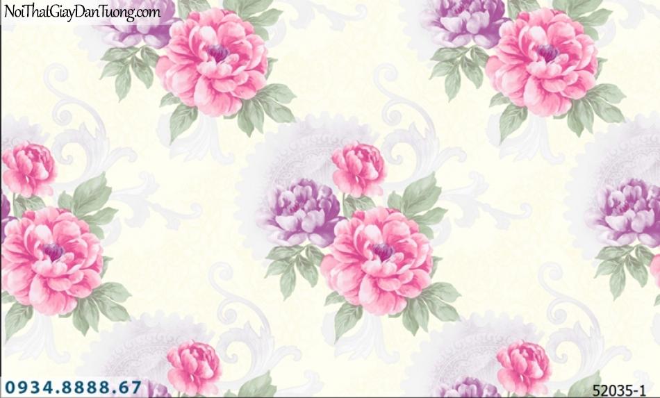 Giấy dán tường NEPTUNE, nền màu kem hoa văn to, hoa lớn màu đỏ màu tím 52035-1