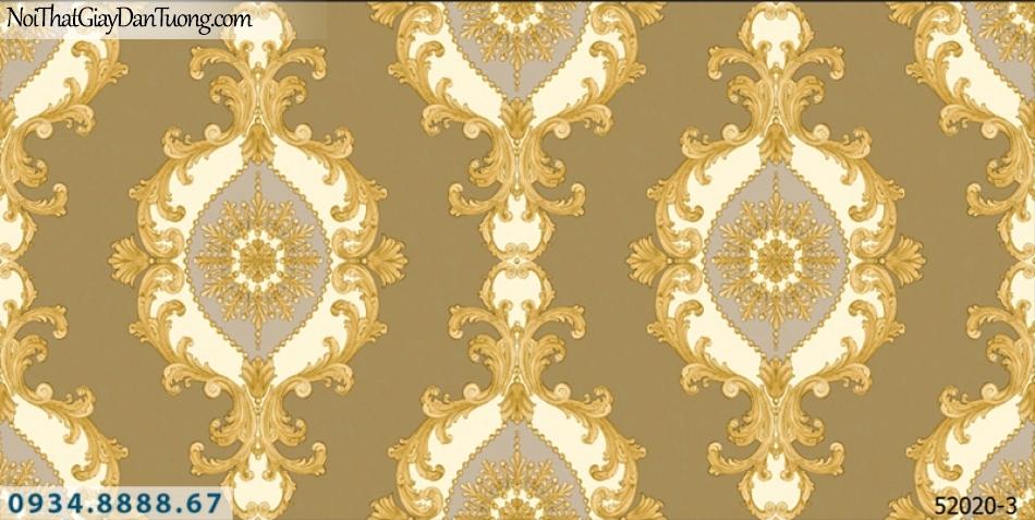 Giấy dán tường NEPTUNE, nền màu nâu vàng đất, hoa văn cổ điển trắng vàng, màu vàng trắng 52020-3