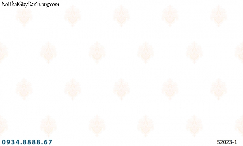 Giấy dán tường NEPTUNE, nền trắng hoa văn rời cổ điển 52023-1