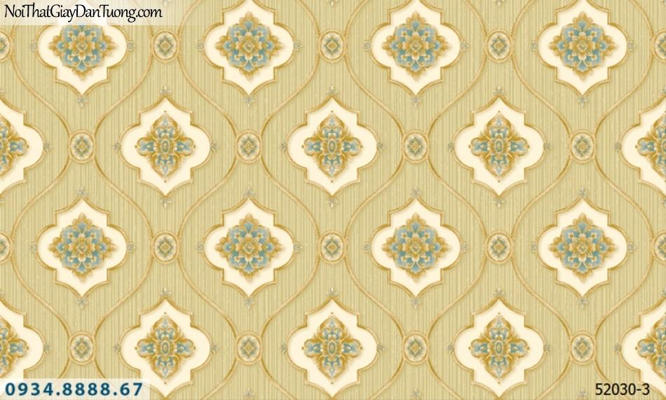 Giấy dán tường NEPTUNE, nền vàng chanh, vàng chuối, hoa văn cổ điển màu vàng, hoa văn nổi 3D 52030-3