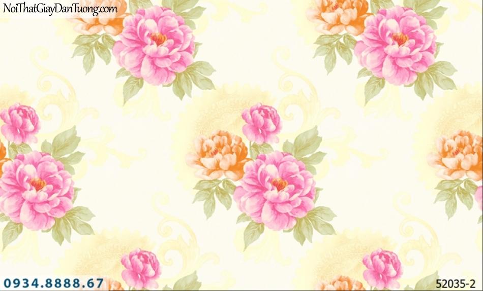 Giấy dán tường NEPTUNE, nền vàng chanh, vàng kem, hoa văn to, hoa lớn màu đỏ màu tím, nhiều bông hoa 52035-2