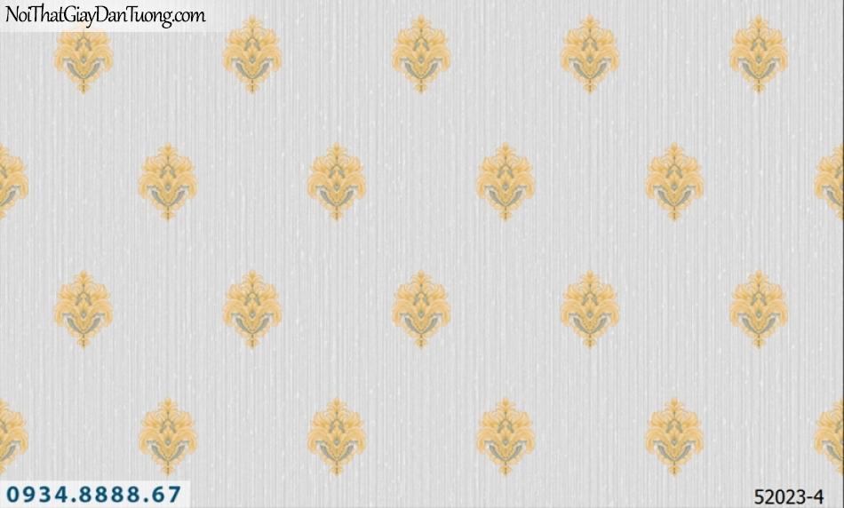 Giấy dán tường NEPTUNE, nền xám hoa văn vàng, bông vàng cổ điển 52023-4