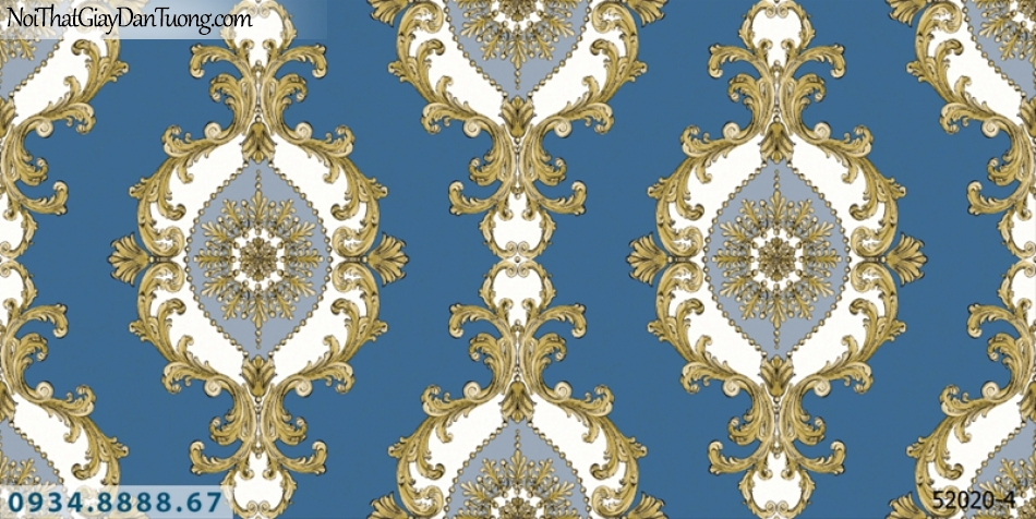 Giấy dán tường NEPTUNE, nền xanh dương, xanh nước biển, xanh da trời, hoa văn cổ điển màu vàng trắng 52020-4