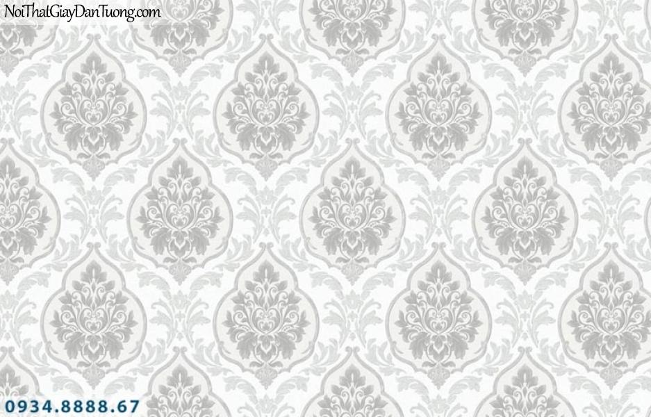 Giấy dán tường AURORA, Giấy dán tường hoa văn cổ điển màu xám 4201-1