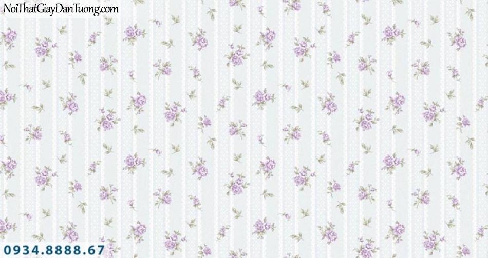 Giấy dán tường AURORA, Giấy dán tường hoa màu tím nhỏ, những bông hoa rơi 4204-3