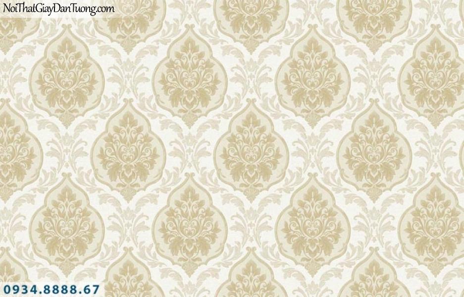 Giấy dán tường AURORA, Giấy dán tường hoa văn cổ điển màu vàng, màu vàng kem 4201-2