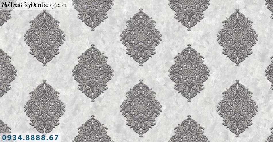Giấy dán tường AURORA, Giấy dán tường hoa văn họa tiết cổ điển màu xám, màu nâu, màu xám nâu đậm 4207-1