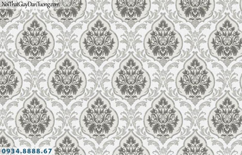 Giấy dán tường AURORA, Giấy dán tường hoa văn họa tiết cổ điển màu xám, xám trắng, xám nâu đậm 4201-3