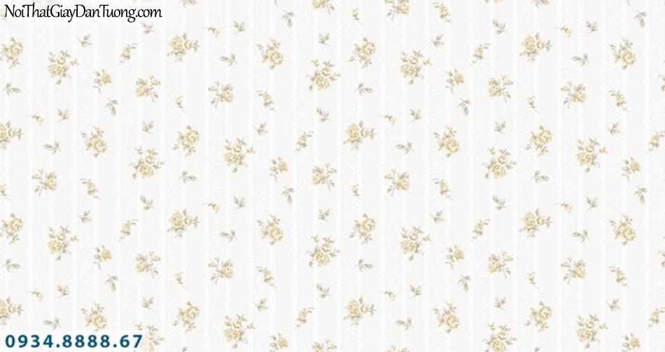 Giấy dán tường AURORA, Giấy dán tường nền kem bông hoa nhỏ li ty màu vàng kem, hoa rơi đẹp 4204-1