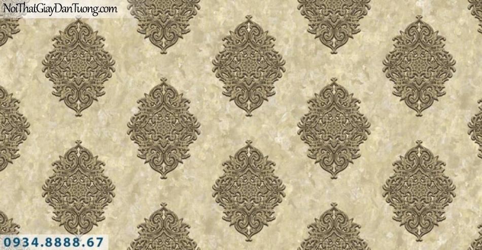 Giấy dán tường AURORA, Giấy dán tường nền màu vàng kem, bông màu vàng đậm, họa tiết cổ điển Châu Âu 4207-3