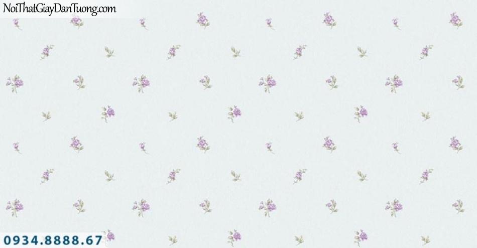 Giấy dán tường AURORA, Giấy dán tường nền màu xanh lơ, xanh dương nhạt, hoa văn nhỏ nhiều màu 4205-3