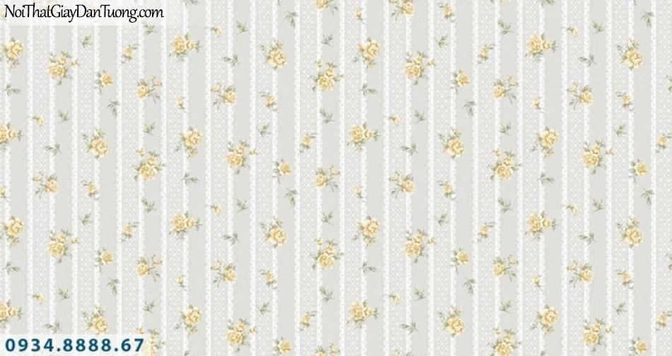 Giấy dán tường AURORA, Giấy dán tường nền sọc màu xám, những bông hoa nhỏ màu vàng nhạt, vàng kem 4204-5