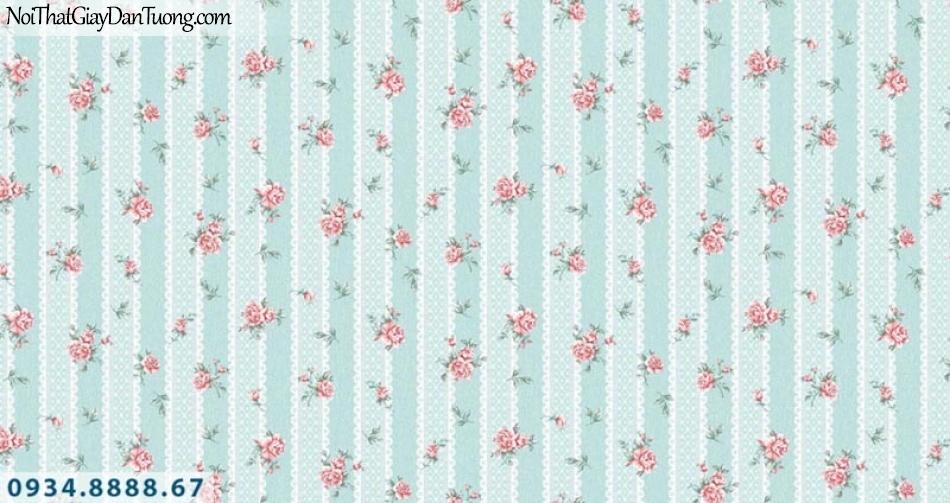 Giấy dán tường AURORA, Giấy dán tường nền sọc màu xanh dương, xanh lơ, những bông hoa nhỏ màu hồng, màu đỏ, màu tím, hoa rơi 4204-4