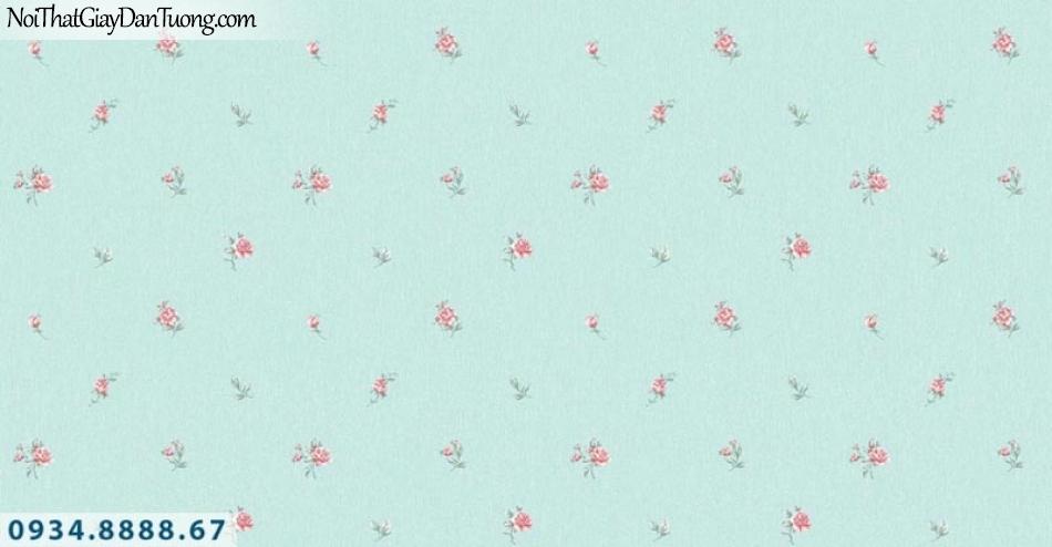 Giấy dán tường AURORA, Giấy dán tường nền xanh ngọc, xanh lá, xanh lá cây xanh chuối, xanh cốm, bông hoa văn nhỏ màu hồng 4205-4