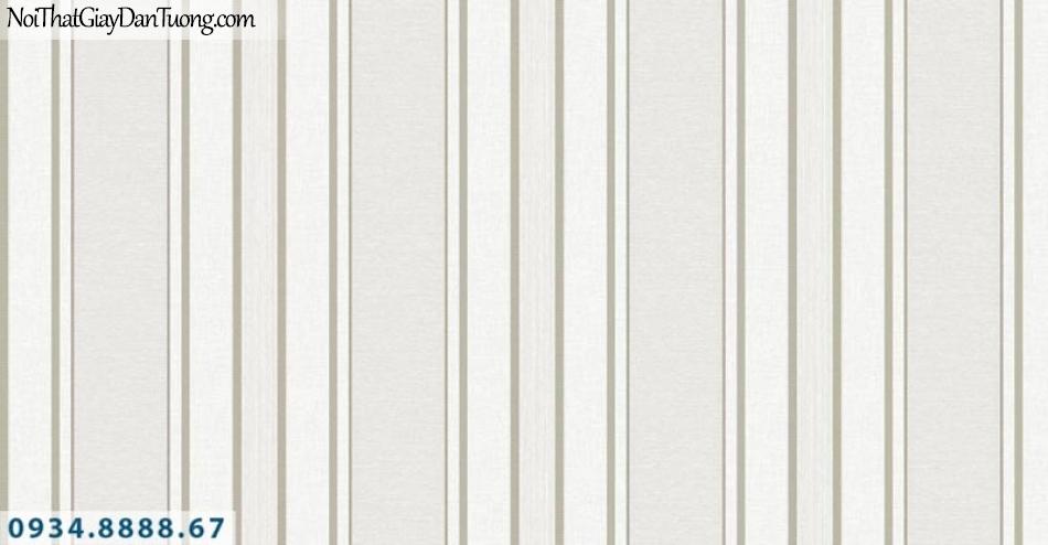 Giấy dán tường AURORA, Giấy dán tường sọc thẳng đứng, giấy sọc màu xám, xám trắng, trắng xám, sọc kem nâu điểm vàng 4202-3