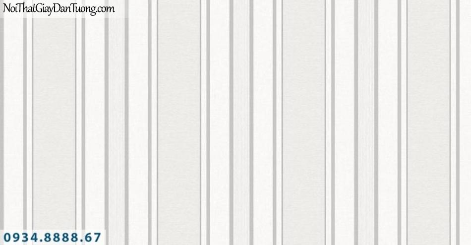 Giấy dán tường AURORA, Giấy dán tường sọc trắng xám, giấy sọc đẹp, sọc bản to bản nhỏ, xám trắng 4202-1