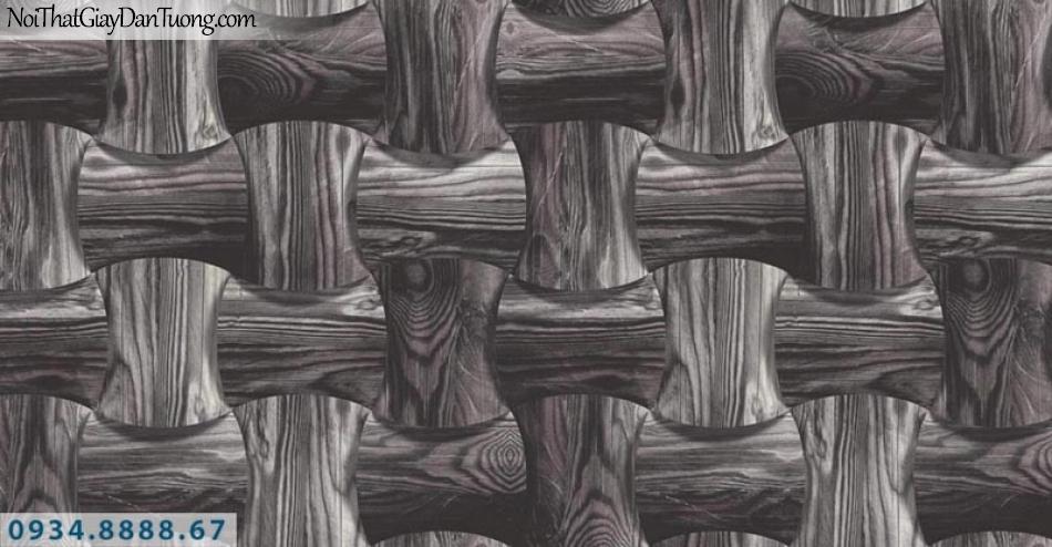 Giấy dán tường AURORA, Giấy dán tường 3D, họa tiết khúc cây tre màu xám trắng, màu tối 4218-2