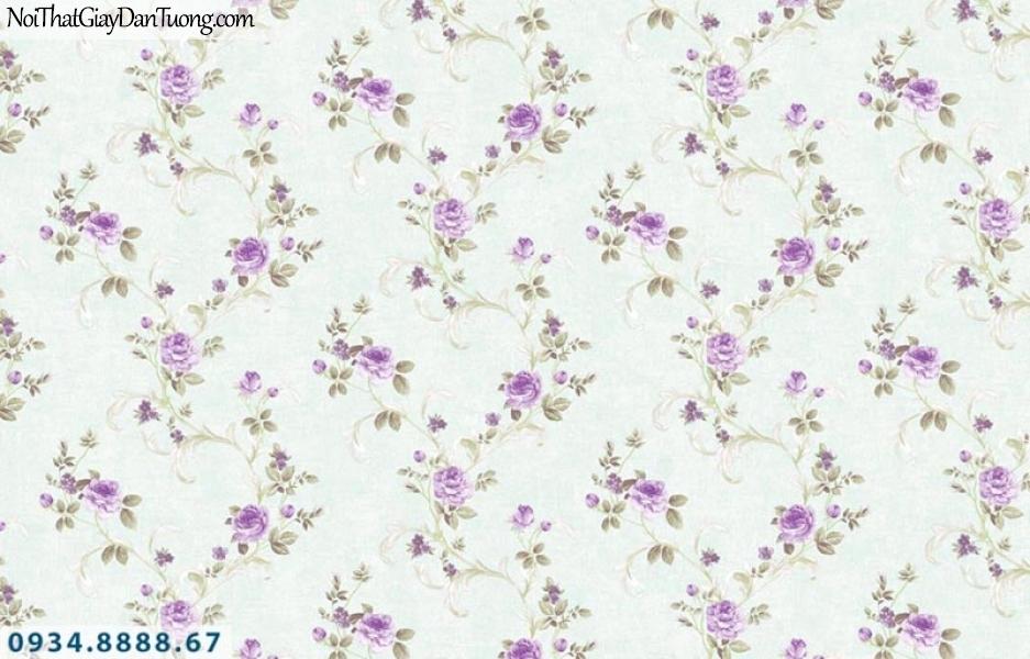 Giấy dán tường AURORA, Giấy dán tường bông hoa dây leo màu tím 4214-5