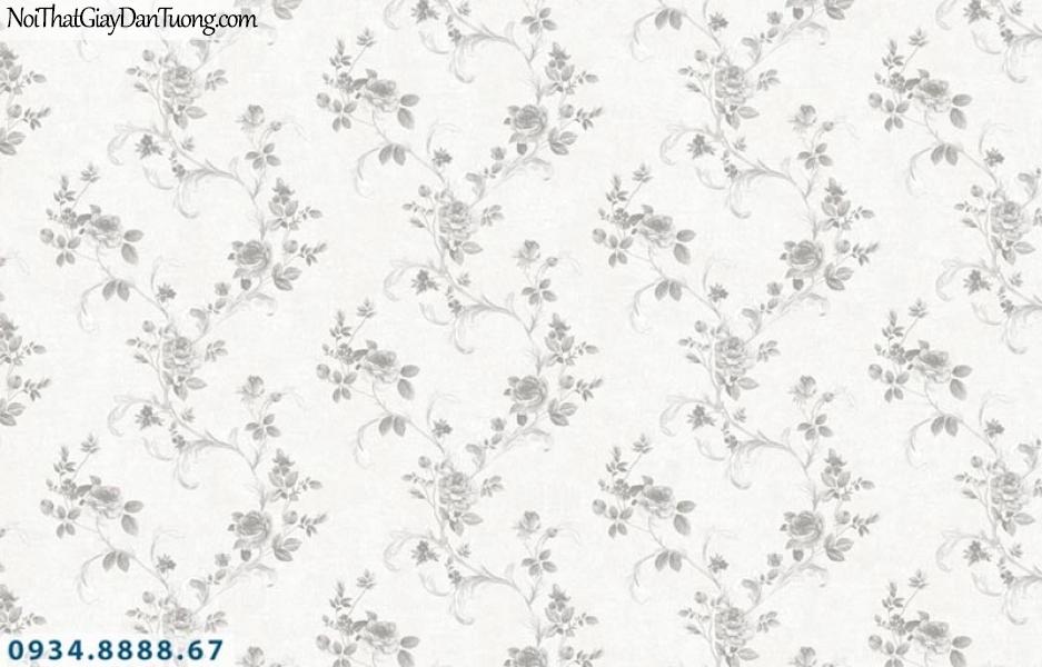 Giấy dán tường AURORA, Giấy dán tường bông hoa dây leo màu trắng, màu trắng xám 4214-1