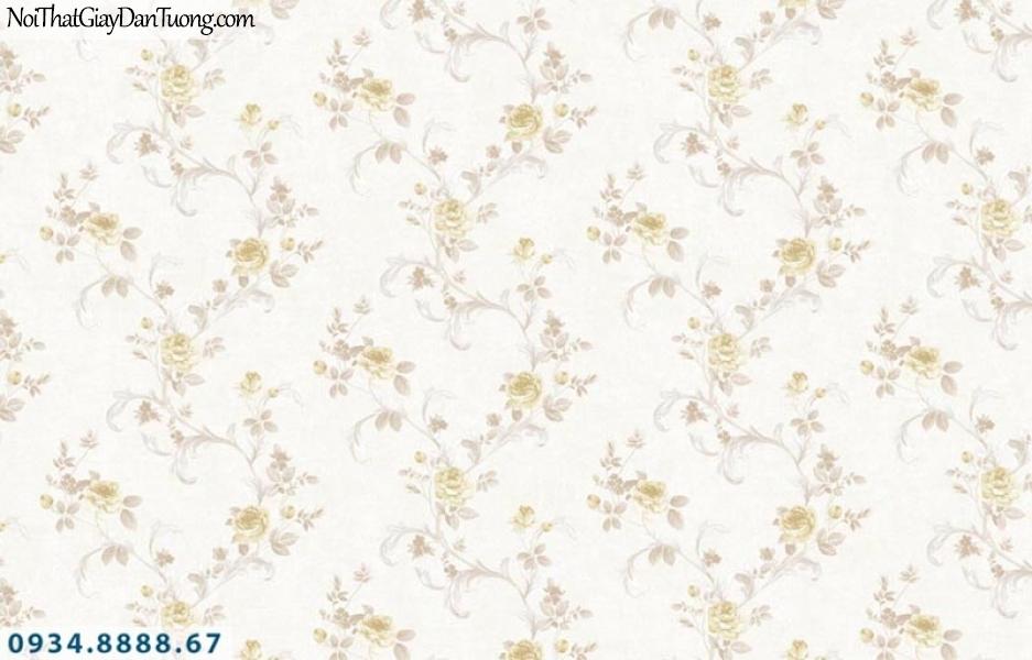 Giấy dán tường AURORA, Giấy dán tường bông hoa dây leo màu vàng, màu kem 4214-2