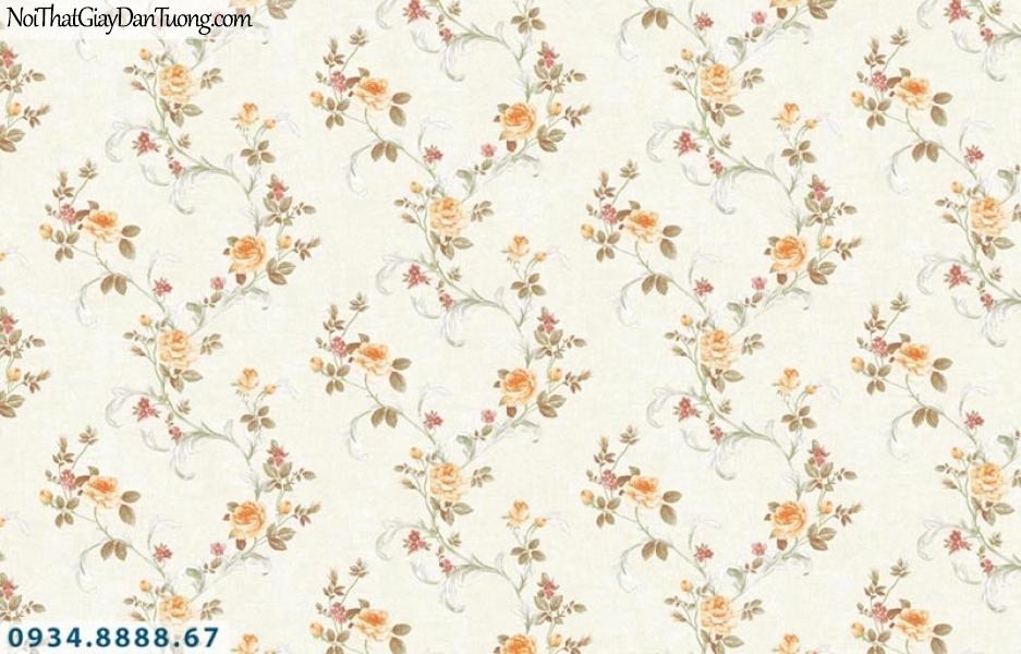 Giấy dán tường AURORA, Giấy dán tường bông hoa, dây leo tường màu vàng, nền màu kem 4214-3
