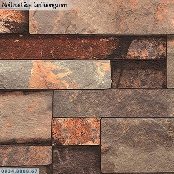 Giấy dán tường AURORA, Giấy dán tường giả đá 3D màu đỏ, màu cam, đá ghép 3D 4210-2