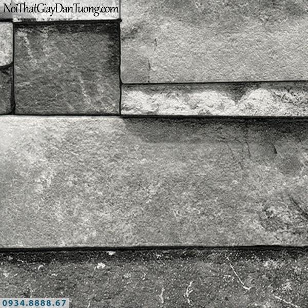 Giấy dán tường AURORA, Giấy dán tường giả giả đá màu xám, giả đá 3D đẹp, màu nâu, xám trắng, từng viên đá ghép 4210-1